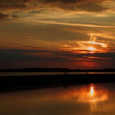 Coucher de soleil sur le lac d'Orient (Aube)