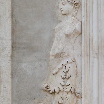 Détail du mur d'une fontaine, colline du Palatin